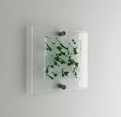 Fused Glass Jackson Pollock Inspired Wall Art Panel. Green Detailed Glass Wall Art