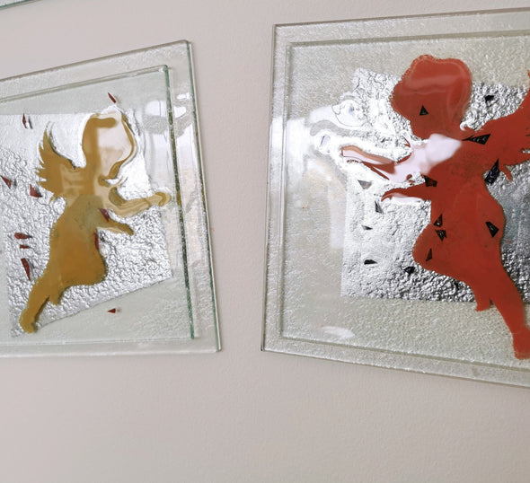 Set of 2 Fused Glass Wall Art Panels - Yellow And Red Angel. Angels Glass Wall Art