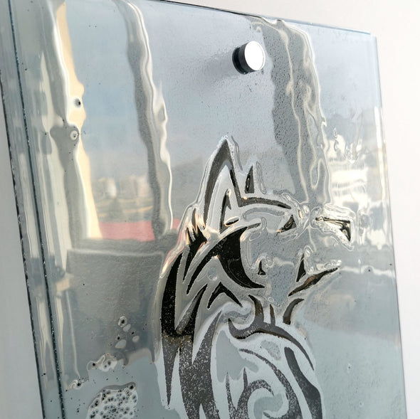Fused Glass Wolf Head Wall Art Panel. Wolf Head Transparent Glass Wall Panel