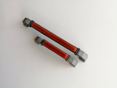 Modern Fused Glass Cabinet Pull. Red Brown Artistic Pillar Furniture Glass Pull