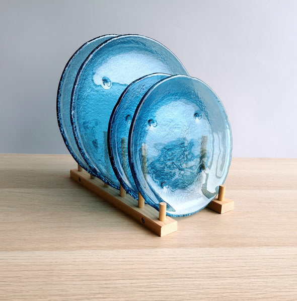 Set of 2 Sky Blue Fused Glass Dessert / Main Course / Pasta Plates. Set of 2 Glass Plates