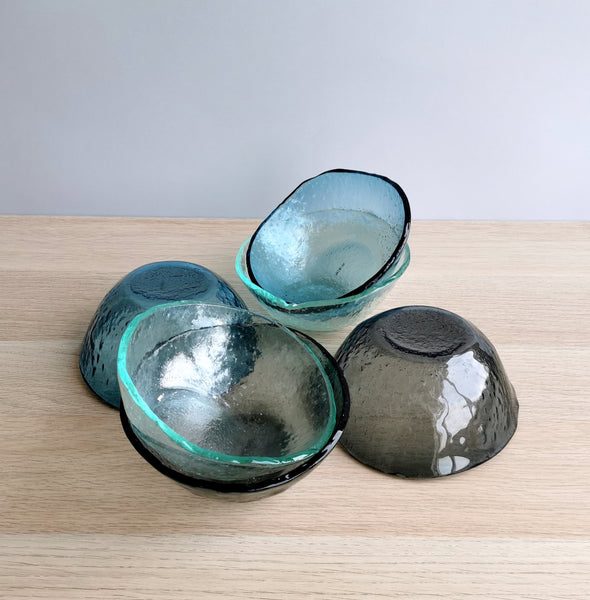 Set of 6 Fused Glass Bowls. Set of 6 Glass Cereal Snack Bowls. Small Minimalist Salad Bowls