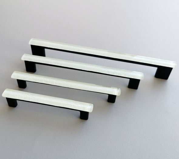 White Accent Glass Pull. White Matte Glass Pull. Artistic White Glass Handle. Accent Glass Pull 0037