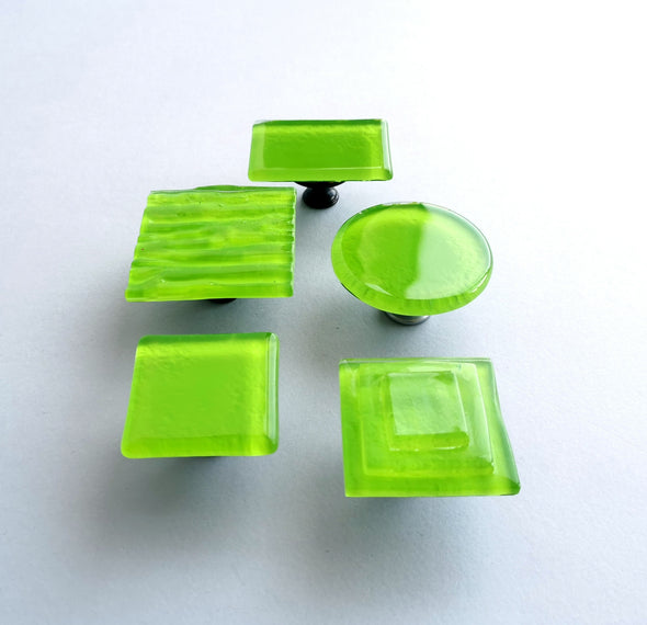 Lime Green Modern Fused Glass Knob. Matte Green Fused Glass Cabinet Knob 0025