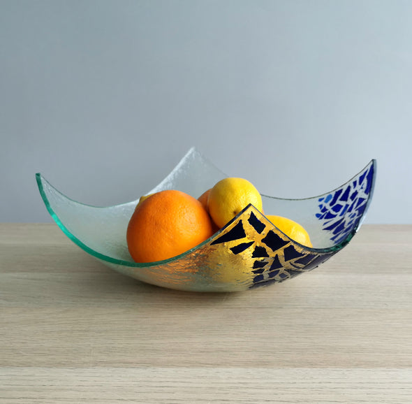 Modern Minimalist Fused Glass Fruit Bowl. Blue Mosaic Centerpiece Fruit-Bowl XL