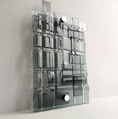 Artistic Fused Glass Wall Art Panel. Square Detailed Glass Wall Panel