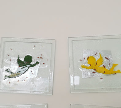 Set of 2 Fused Glass Wall Art Panels - Green And Yellow Angel. Angels Glass Wall Art