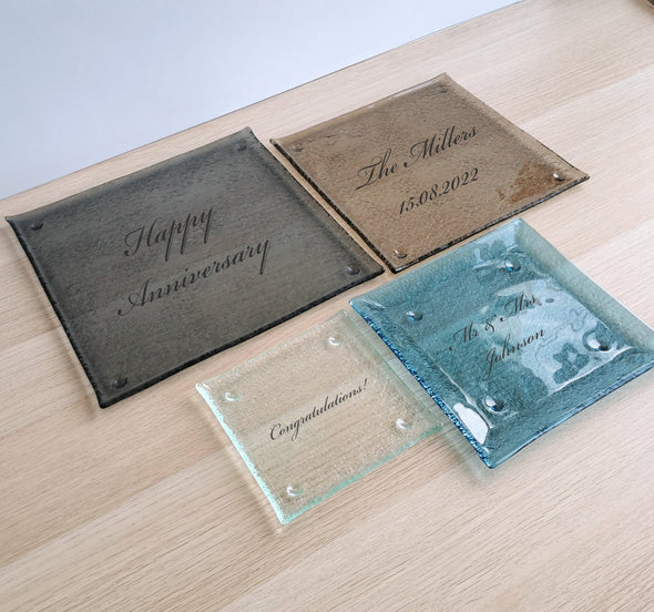 Personalized Fused Glass Plate. Special Occasion Glass Plate. Custom Made Glass Plates
