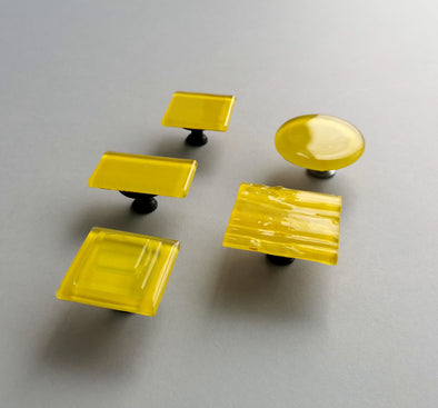 Modern Fused Glass Knob in Sunny Yellow. Bright Yellow Glass Knob 0044