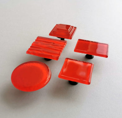 Red Orange Modern Fused Glass Knob. Reddish Orange Glass Knob 0030