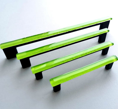 Modern Accent Glass Pull in Lime Green. Light Green Glass Pull 0025