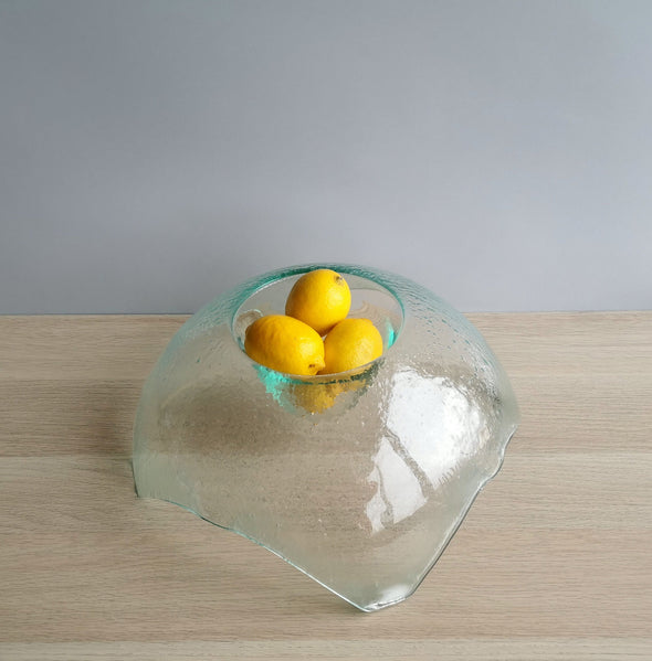 Modern Minimalist Fused Glass Fruit Bowl. Centerpiece Fruit-Bowl. Designer Fruit Bowl XL