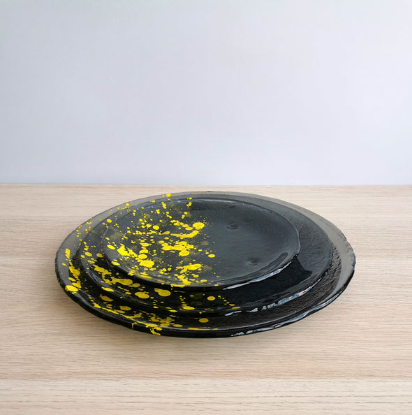 Set of 2 Jackson Pollock Inspired Fused Graphite Glass Dessert / Main Course / Platter Dish