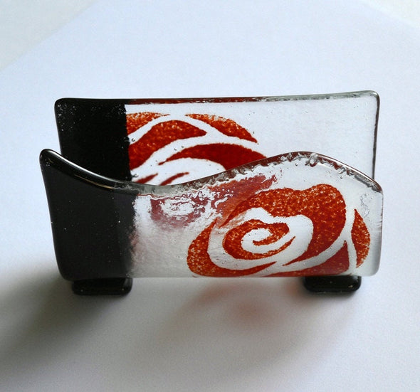 Unique Red Rose Business Card Holder. Black and Red Female Business Gift