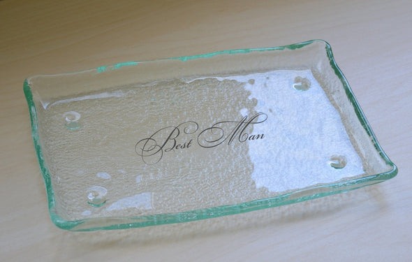 Personalized Best Man Plate. Wedding Cake Glass Plate. Custom Best Man Gift