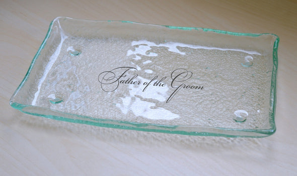Personalized Father of the Groom Gift Plate. Wedding Cake Glass Plate