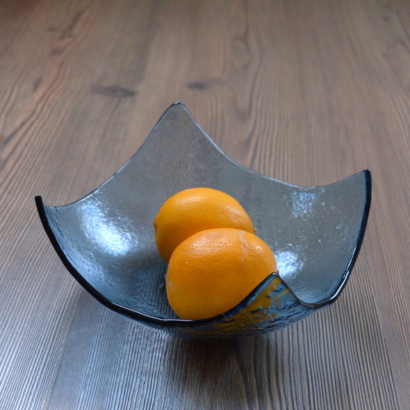 Abstract Modern Fused Glass Salad Bowl. Blue Glass Fruit Bowl M