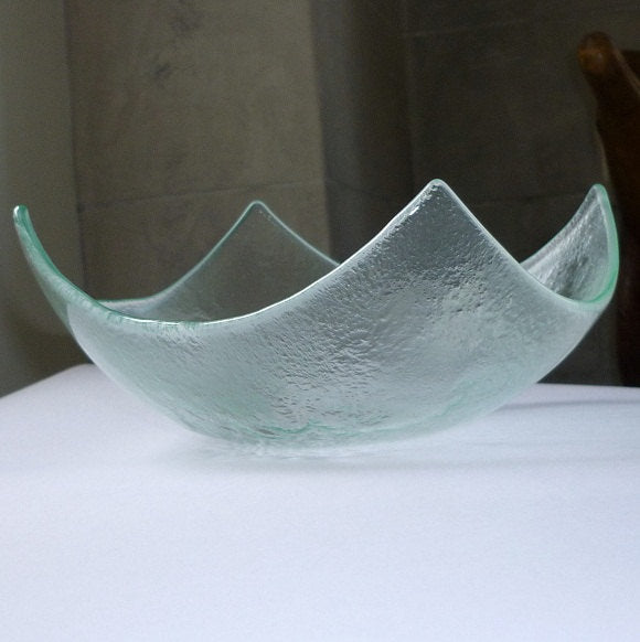 Abstract Modern Fused Glass Salad Bowl. Clear Glass Fruit Bowl M