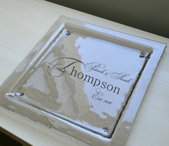 Personalized Glass Plate. Personalized Wedding Gift. Appetizer Platter. Custom Wedding Gift