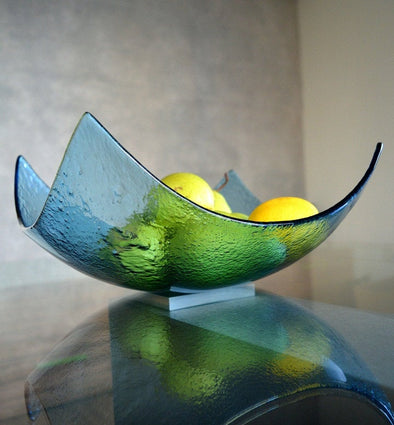 Modern Sky Blue Minimalist Fused Glass Fruit Bowl. Centerpiece Bowl. Designer Fruit-Bowl XL