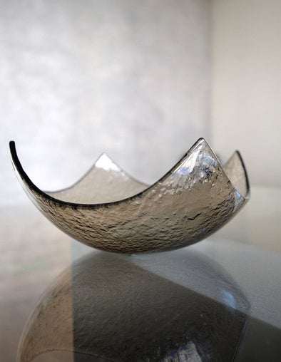 Modern Fused Glass Bronze Salad Bowl. Cappuccino Glass Fruit Bowl M