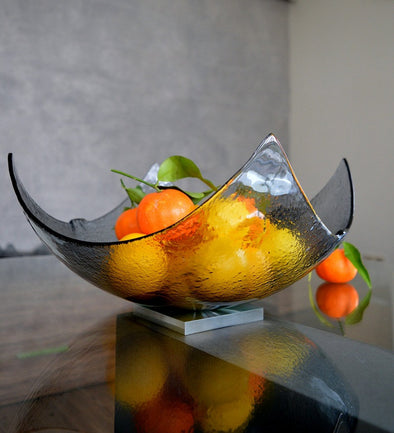 Modern Graphite Minimalist Fused Glass Fruit Bowl. Designer Centerpiece Fruit-Bowl XXL