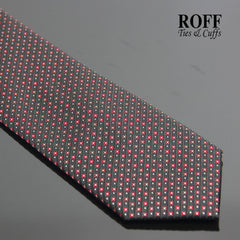 Black Tie with Fine Red and White Motif