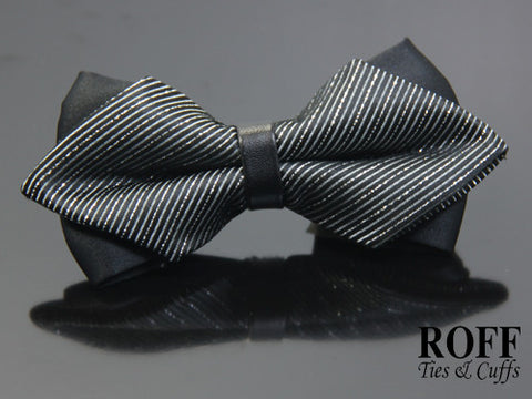 Pointed Tips Stripe Bow Tie