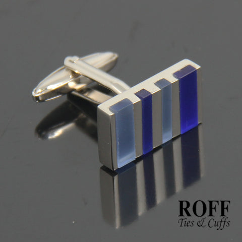 Striped Blue Stones Cufflinks (FL001-Y2)