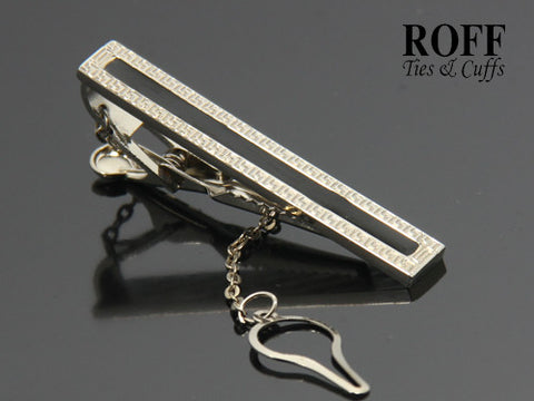 Geometric Pattern Tie Clip with Black Enamel