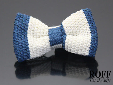 Knitted Vertical Broad Stripes Bow Tie