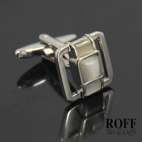 Hollow Frame White Stones Cufflinks (FL007-Y2)