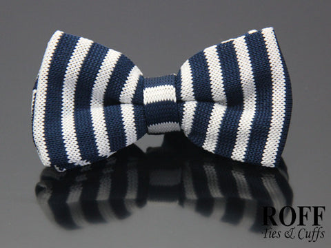 Knitted Vertical Stripes Bow Tie
