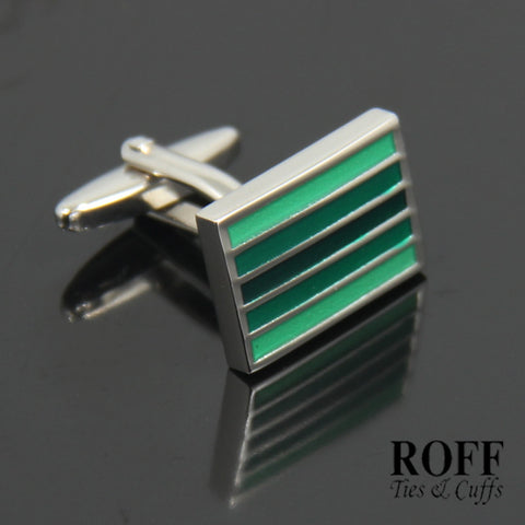 Green Striped Cufflinks (FL008-Y2)