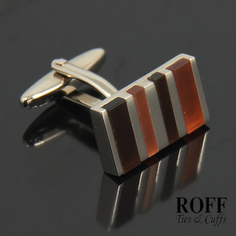 Striped Brown Stones Cufflinks (FL002-Y2)
