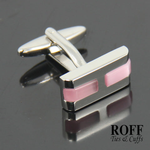 Sleek Pink Stones Cufflinks (FL006-Y2)