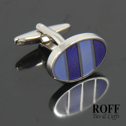 Oval Purple Stripes Cufflinks (FL009-Y2)