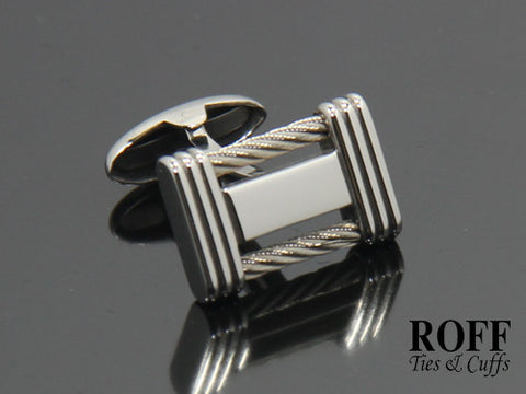 Duo Steel Cable Inlay Cufflinks