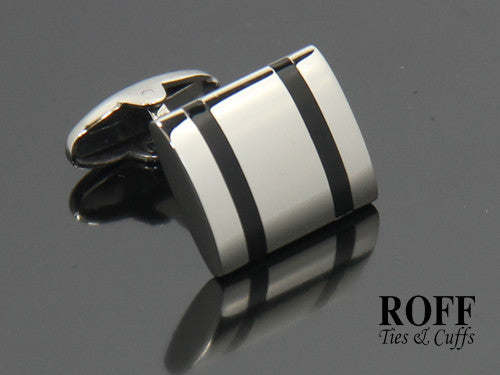 Double Stripe Stainless Steel Cufflinks