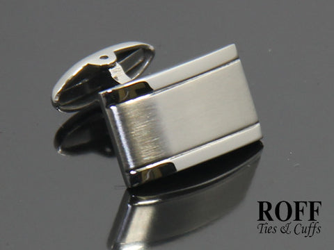 Classic Matt Brushed with Polished Edges Stainless Steel Cufflinks