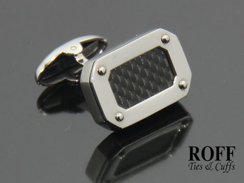 Carbon Fibre Panel Stainless Steel Cufflinks