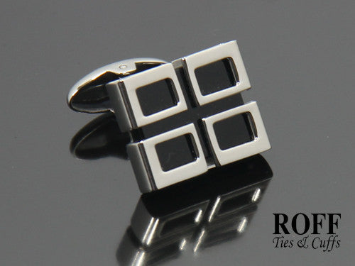 Silver Framed Black Stone Stainless Steel Cufflinks