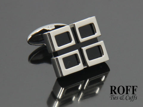 Black Stone with Quaternate Frame Stainless Steel Cufflinks
