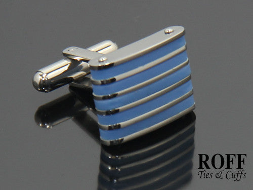 Blue Rubber Stripes Stainless Steel Cufflinks