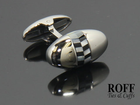 Oval Stainless Steel Cufflinks with Mother of Pearl & Black Stone Bits