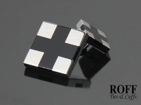 Black Cross Double Stainless Steel Cufflinks with Chain Fittings
