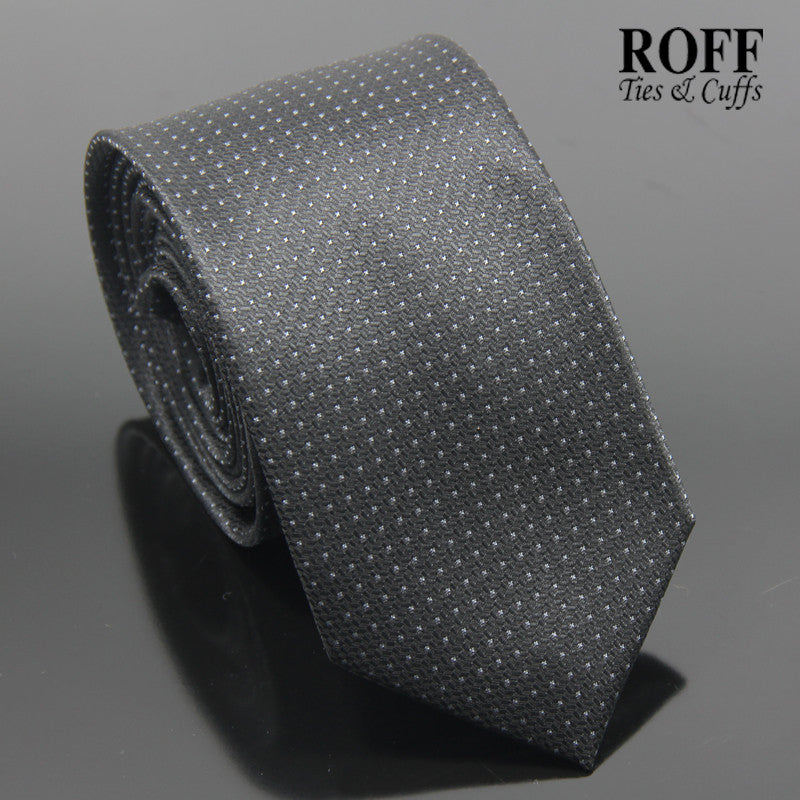 Basic Grey on Black Microdot Tie