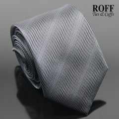 Grey on Black Stripe Tie
