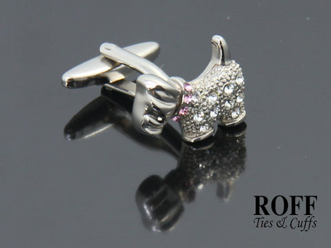 Schnauzer Dog Crystals Cufflinks - Pink Collar