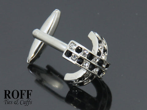 Black & White Crystals Cross Cufflinks